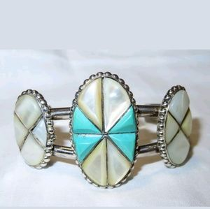 Vintage Zuni Turquoise and Mother of Pearl Cuff